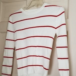 Forever 21 new White with red stripe Sweater Smal
